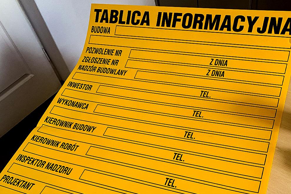 Budowlana tablica infomacyjna